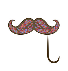 Zen tangle mustache on a stick zentangle whisker vector