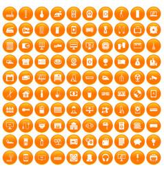 100 appliances icons set orange vector