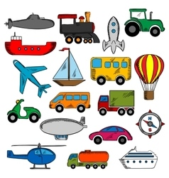 Aviation transportation and ship icons vector image