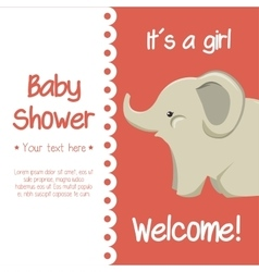 card baby shower elephant cute isolated vector image