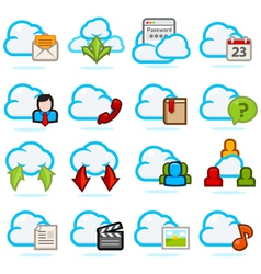 Cloud Network icon set vector image