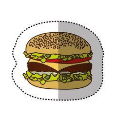 color hamburger fast food icon vector image vector image