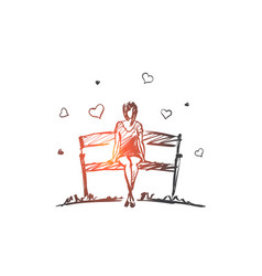 hand drawn girl in love sitting on bench vector image