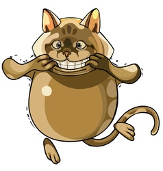 toothy smiling cartoon cat vector image vector image