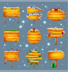 christmas wooden signs set vector image vector image