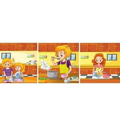 Girl and mom doing activities in the kitchen vector image vector image