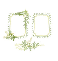 green floral hand drawn frame leaves decoration vector image