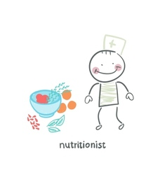 nutritionist standing next to a bowl of vegetables vector image vector image
