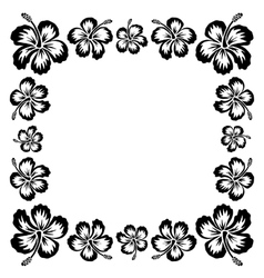 Black ink style drawn hibiscus tropical flowers vector image