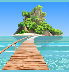 cartoon tropical island with a pier in turquoise vector image vector image
