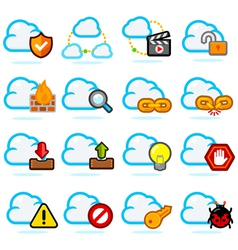 Cloud Network Icon Set vector image vector image