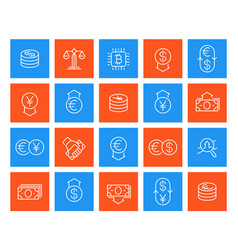 currency finance line icons vector image