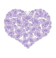 Heart of purple butterflies on white background vector