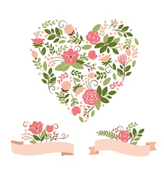 Set of floral graphic elements vector image vector image