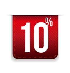 Ten percent off ribbon red vector image