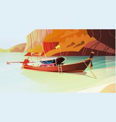 thailand landscape long tail boat seascape vector image vector image