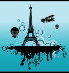 airplane above paris vector image vector image