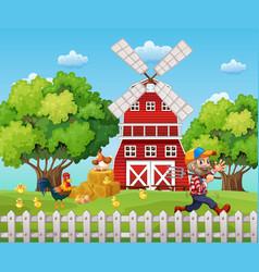 farmer working on the farm vector image