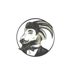 Goat Beard Tie Tuxedo Circle Drawing vector image vector image