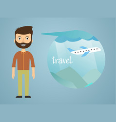 Man dreaming about his vacation vector