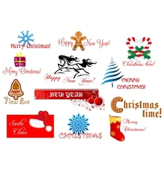 New Year and Chrismas symbols vector image vector image