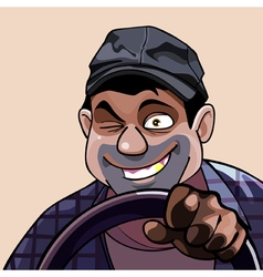 Winking cartoon cheerful man driving vector