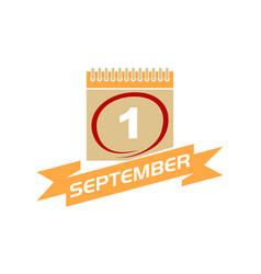 1 september calendar with ribbon vector