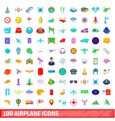 100 airplane icons set cartoon style vector