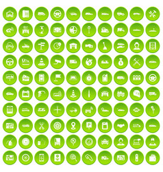 100 auto icons set green circle vector