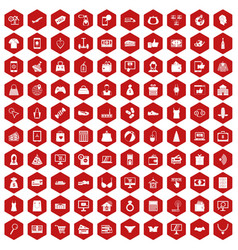 100 online shopping icons hexagon red vector image