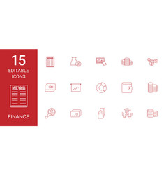 15 finance icons vector image