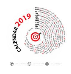 2019 calendar templatespiral calendarcalendar vector image