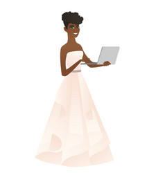 African bride in a white dress using a laptop vector