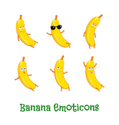 Banana smiles cute cartoon emoticons emoji icons vector