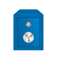 Bank safe in blue design with combination lock vector
