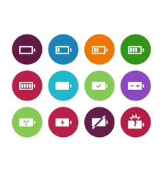 Battery circle icons on white background vector image