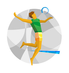 Beach volleyball player with abstract patterns vector