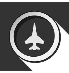 black icon - fighter and stylized shadow vector image