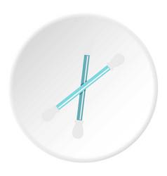 Blue plastic cotton swabs icon circle vector