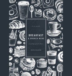 breakfast banner on chalkboard morning food and vector image