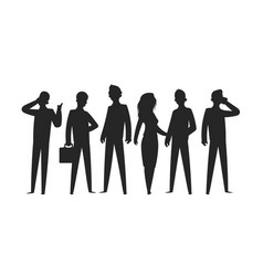 Business people silhouettes businesswoman vector