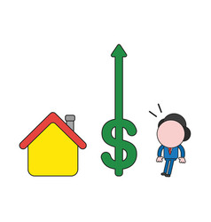 businessman character with house and looking vector image