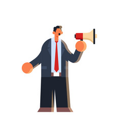 businessman holding megaphone loudspeaker business vector image