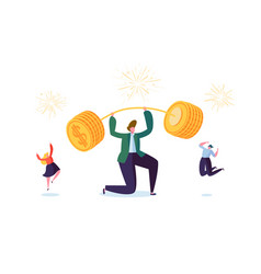 Businessman lifting up barbell with golden coins vector