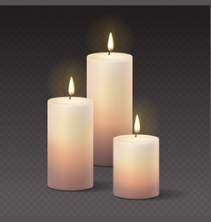 Candles burning with fire realistic vector