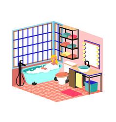 cartoon girl takes a bubble bath everyday routine vector image