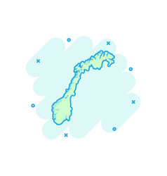 Cartoon norway map icon in comic style norway vector