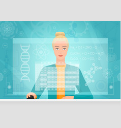 Chemist genetics biology woman working using vector