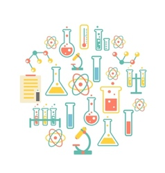 Chemistry icons background vector