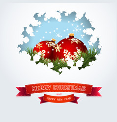christmas card with balls pine branches and vector image